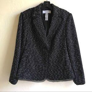 Black White PolyAcrylic Nylon Knit Blazer Sz12 $10